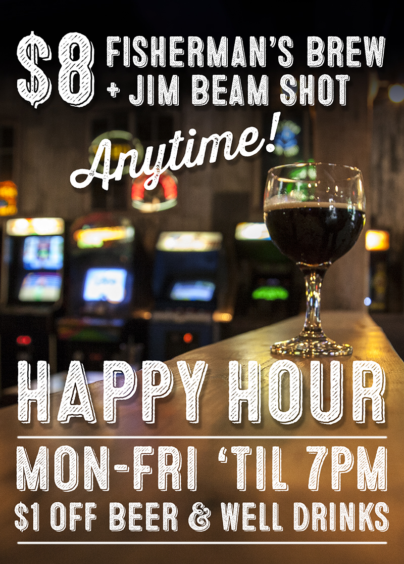 Barcade Happy Hour Specials in Philadelphia, PA : Monday through Friday until 7pm $1 off beer and well drinks | $8 Fisherman's Brew and Jim Beam Shot anytime