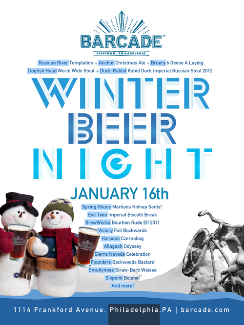 Winter Beer Night — January 16, 2014 at Barcade® in Philadelphia, PA