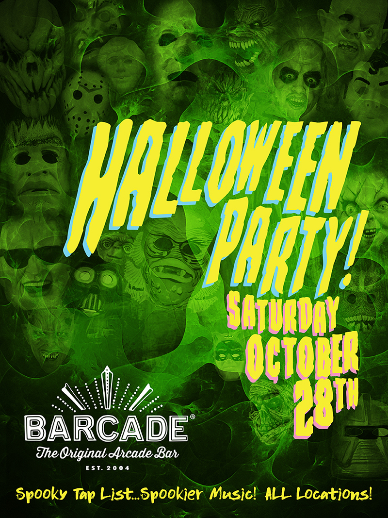 Barcade Halloween Party — October 28, 2017 at Barcade® in Philadelphia, PA | Extra Spooky tap list and music playlist