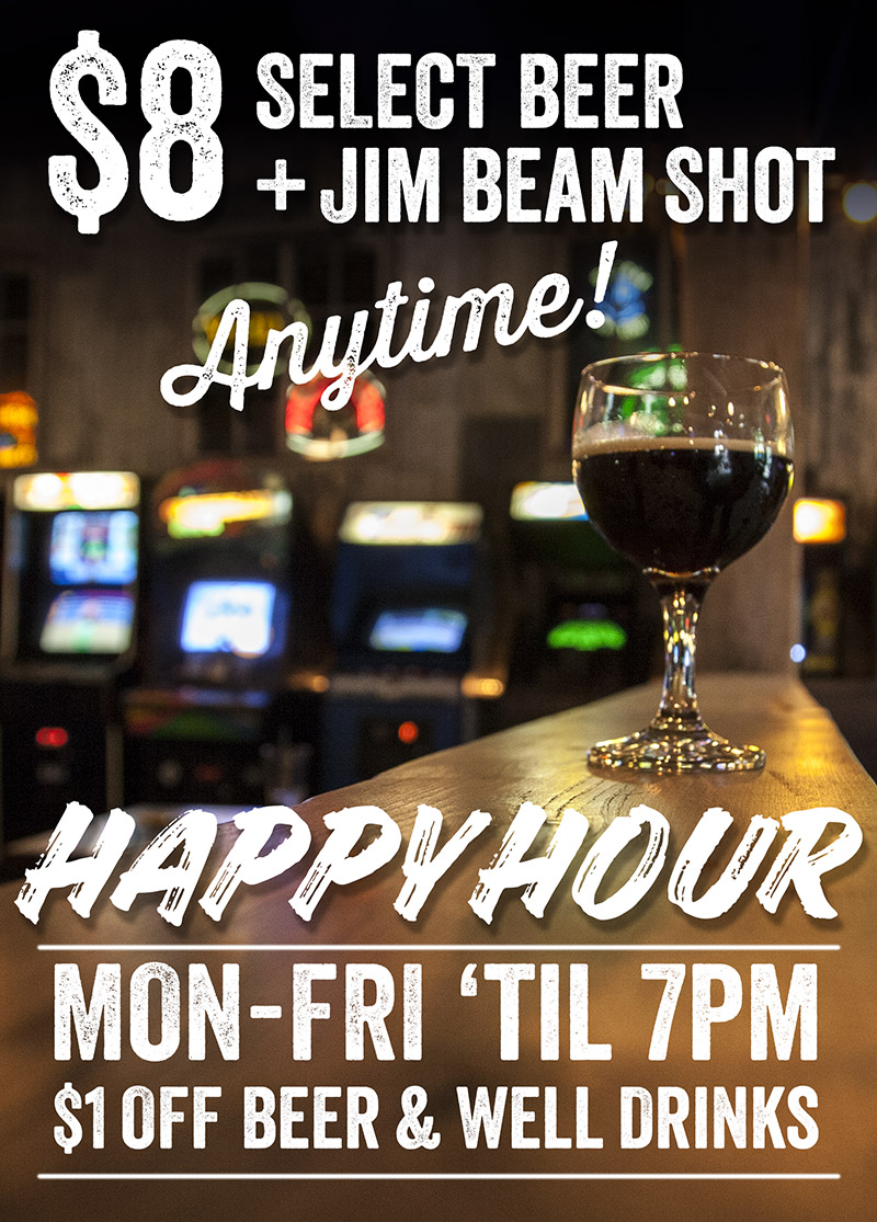 Barcade Happy Hour Specials in Philadelphia, PA : Monday through Friday until 7pm $1 off beer and well drinks | $8 Select Beer and Jim Beam Shot anytime