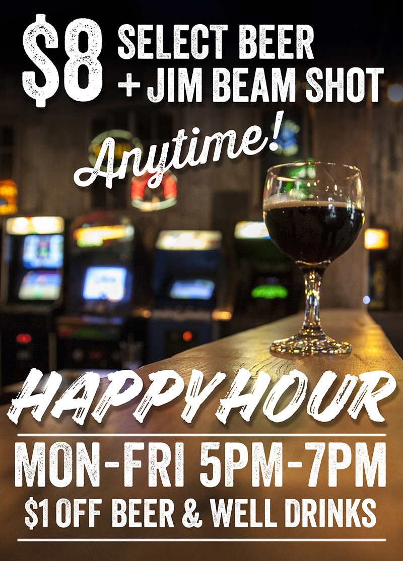 Barcade Happy Hour Specials in Philadelphia, PA : Monday through Friday 5pm to 7pm $1 off beer and well drinks | $8 Select Beer and Jim Beam Shot anytime