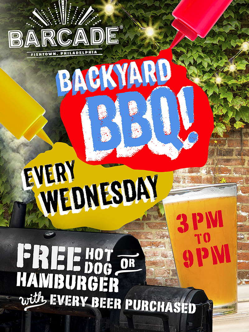 Backyard Barbecue BBQ Wednesdays! — 3pm to 9pm Free Hot Dog or Hamburger with every beer purchased