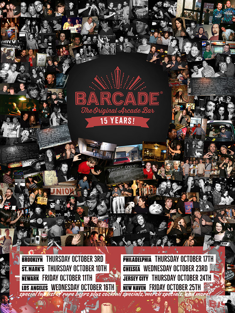 Barcade 15th Anniversary Celebration — October 17, 2019 at Barcade® in Philadelphia, Pennsylvania | poster