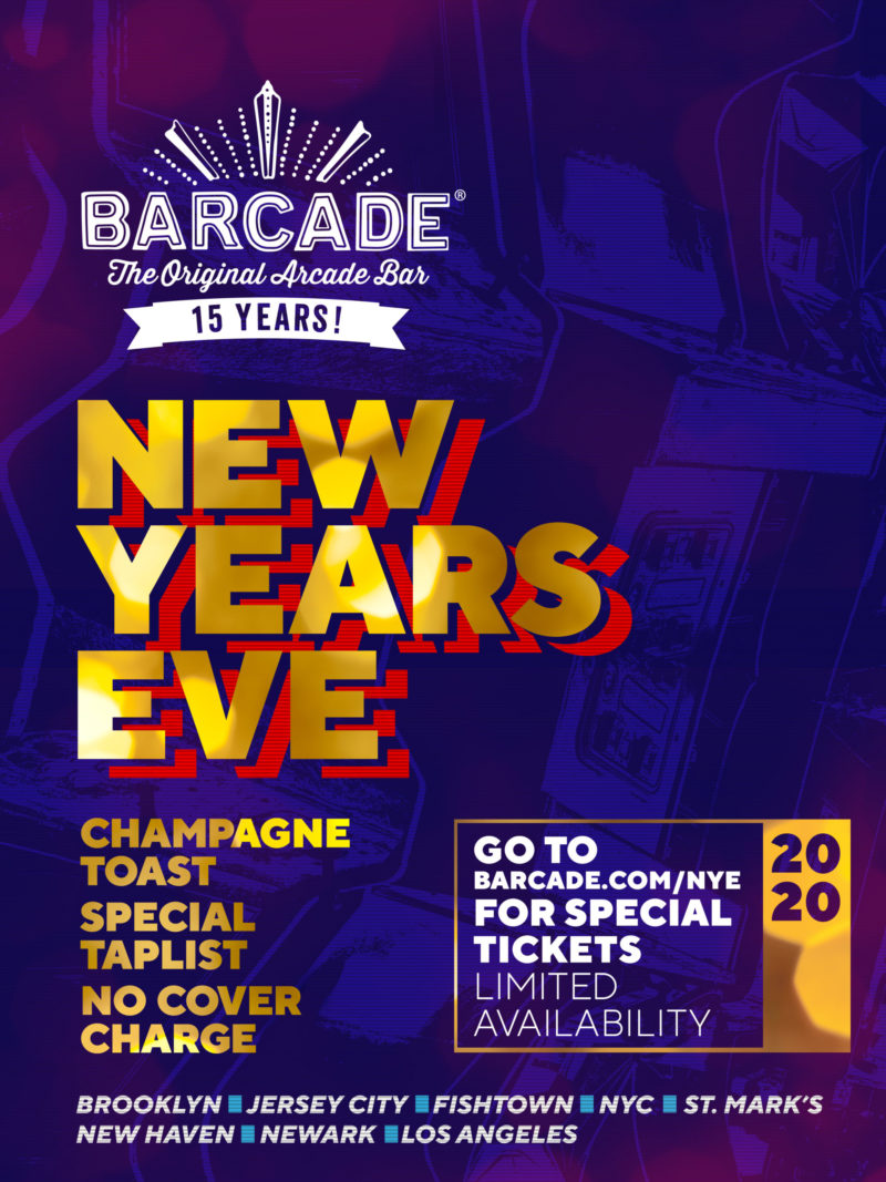 New Years Eve at Barcade on Tuesday, December 31st 2019 in Fishtown, Philadelphia
