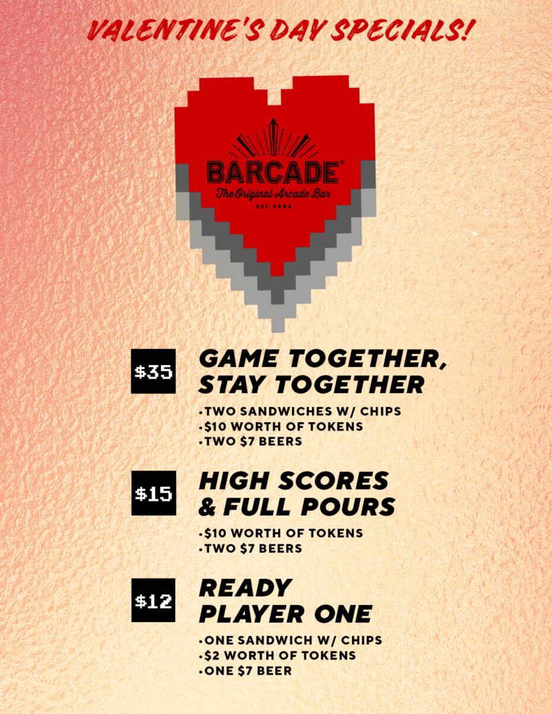 Valentines Day Specials at Barcade® in Philadelphia, PA | game flyer graphic