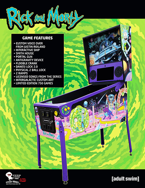 Rick and Morty (pinball) — 2020 at Barcade® in Philadelphia, PA | game flyer graphic